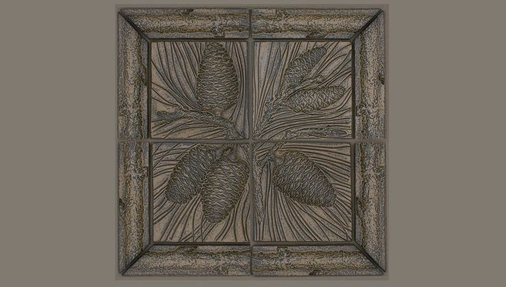 Fine Handcrafted Ceramic Relief Tiles In Pinecone Animal