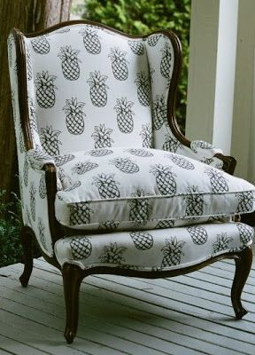 pineapple re-upholstery...I loved pineapples before they were cool!!