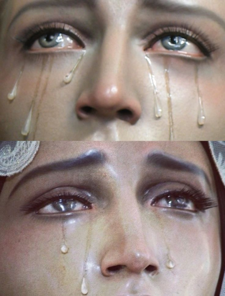 "insanity-and-vanity: "" Tears on statues of the Virgin Mary """