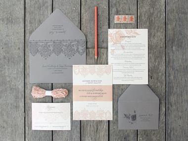 Printed on ivory. Vintage dusky rose and grey theme for a vineyard wedding. Pairing a vintage lace motif with an old fashioned rose etching, the invitation, information, and response card were wrapped up with a coordinating belly band, and finished off with printed grey envelopes.