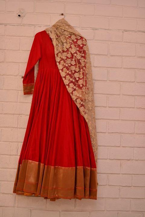 Red anarkali with beige lace dupatta