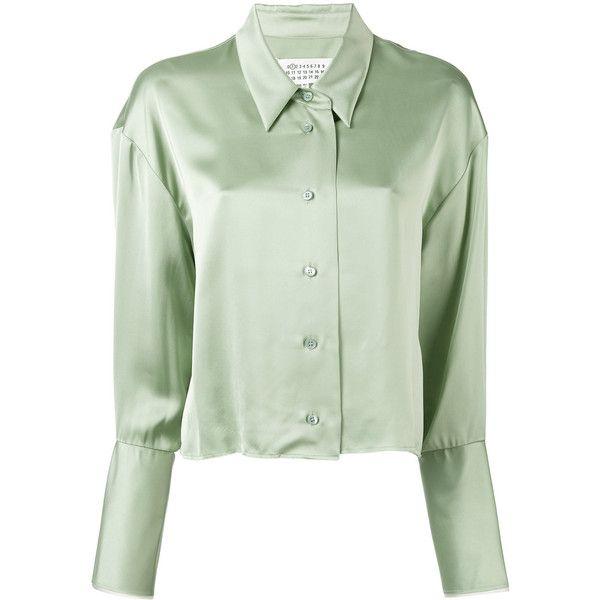 Maison Margiela cropped frayed hem shirt (4.250 NOK) ❤ liked on Polyvore featuring tops, green, long-sleeve shirt, cropped long sleeve shirt, long-sleeve crop tops, long sleeve shirts and button front shirt