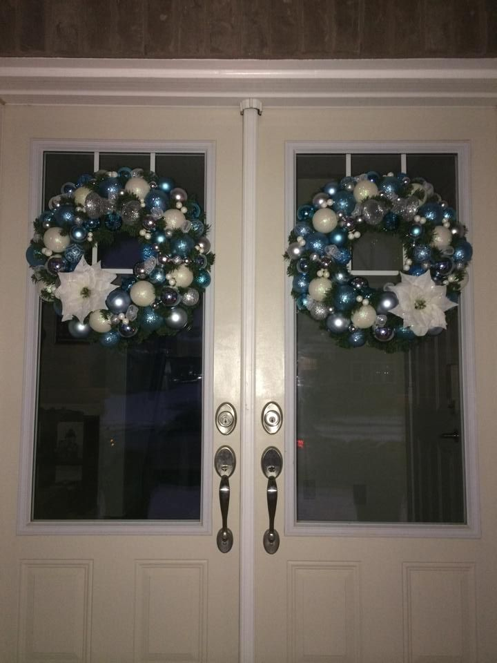 Aquas, whites and silvers for Heather P.  They look stunning on her doors!