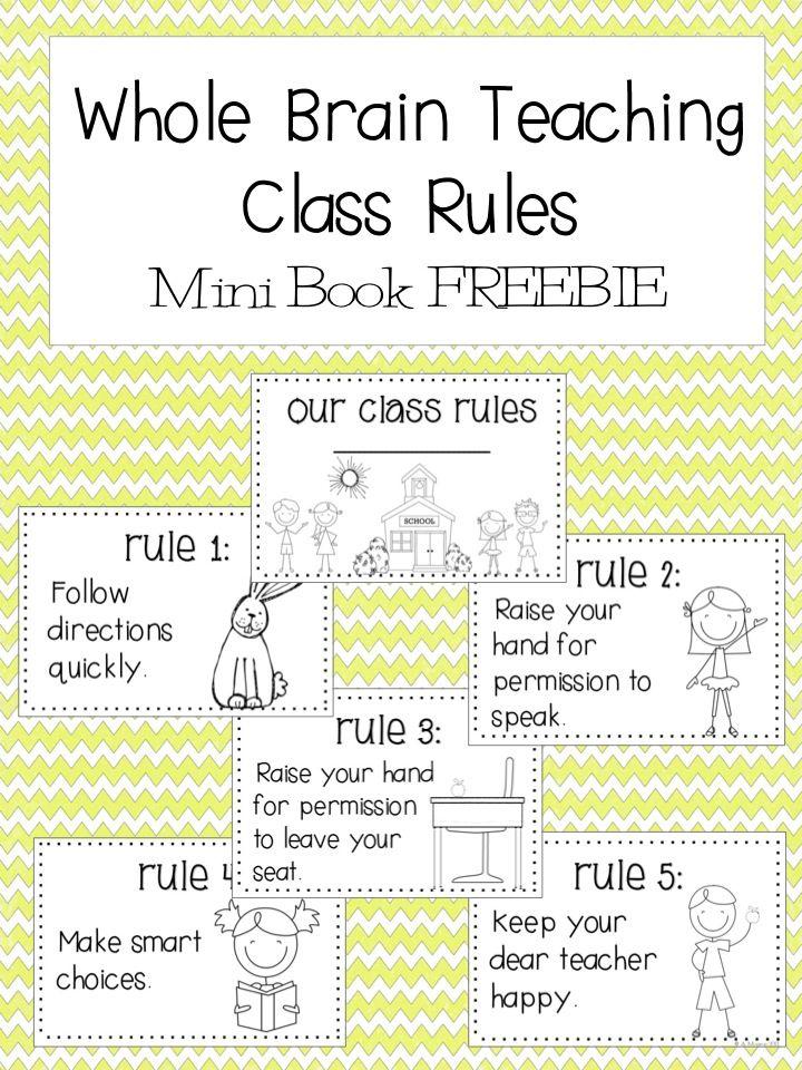 FREE:  Whole Brain Teaching Rules Mini Book Printable  schoolisahappyplace.blogspot.com
