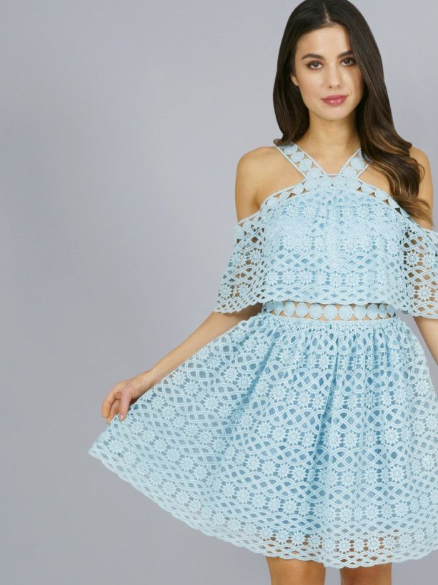 Chi Chi Teia Dress From Chi Chi London Inspired By This Season S Catwalk Trends Whatever The Occasion Look Great Crochet Mini Dress Dresses Blue Bardot Dress