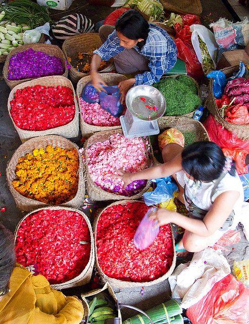 Dried flowers by the gram. Ubud Bali