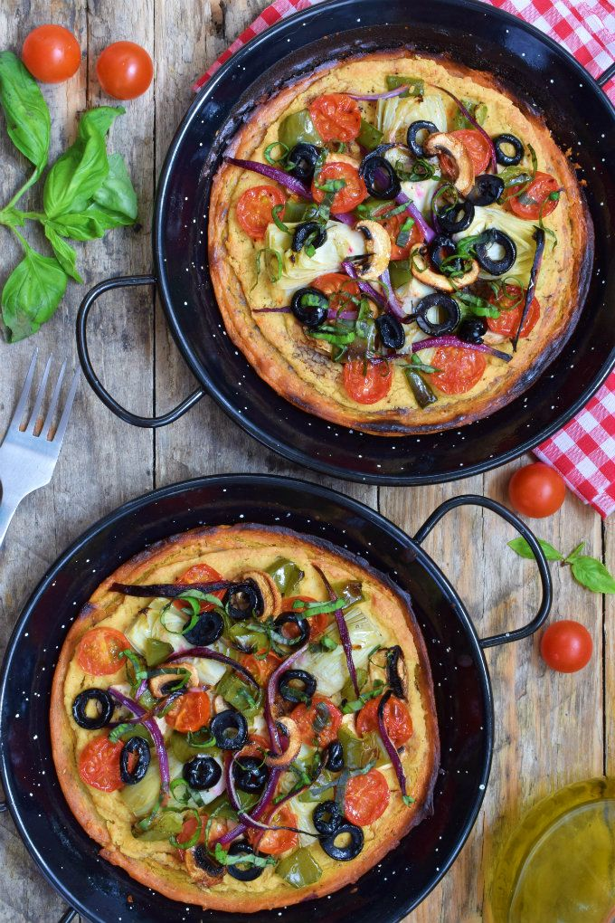 Chickpea flour pizza with hummus is quick and easy! Made without animal products, it's vegetarian- and vegan-friendly. Also naturally gluten-free.