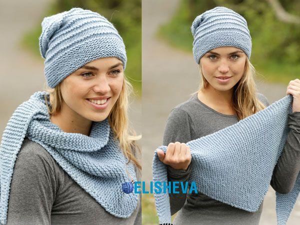 Комплект вязаный спицами: шапка и шаль от Drops Design | Блог elisheva.ru