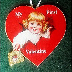 Baby's First Valentine Ornament Handcrafted Wood, 1940s Magazine, New Grandchild Gift, February Baby Shower Gift, Personalized Card