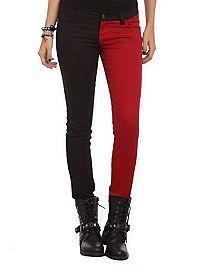 HOTTOPIC.COM - Royal Bones By Tripp Blood Red And Black Split Leg Skinny Jeans