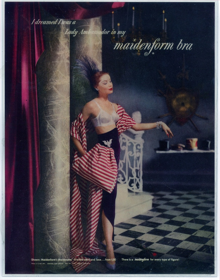 I Dreamed I Was A Lady Ambassador. Vintage Ads. Maidenform.Vintage Lingerie, Lady Ambassador, 1951 Bra, 1950S, Maidenform Bra, Www Mibralady Com, Vintage Ads, Maidenform Vintage, Bra Ads