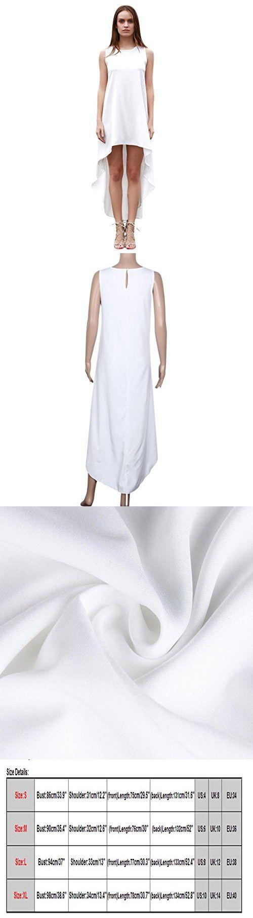 Sunward(TM) Women Sleeveless Chiffon Long Irregular Sundress Dress (Large, White)