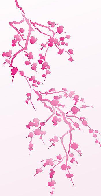 Cherry Blossom Flower Stencil: Cherry Blossom Silhouette Stencil 1