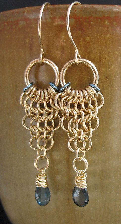 Handmade Blue Topaz Chainmaille Earrings 14k