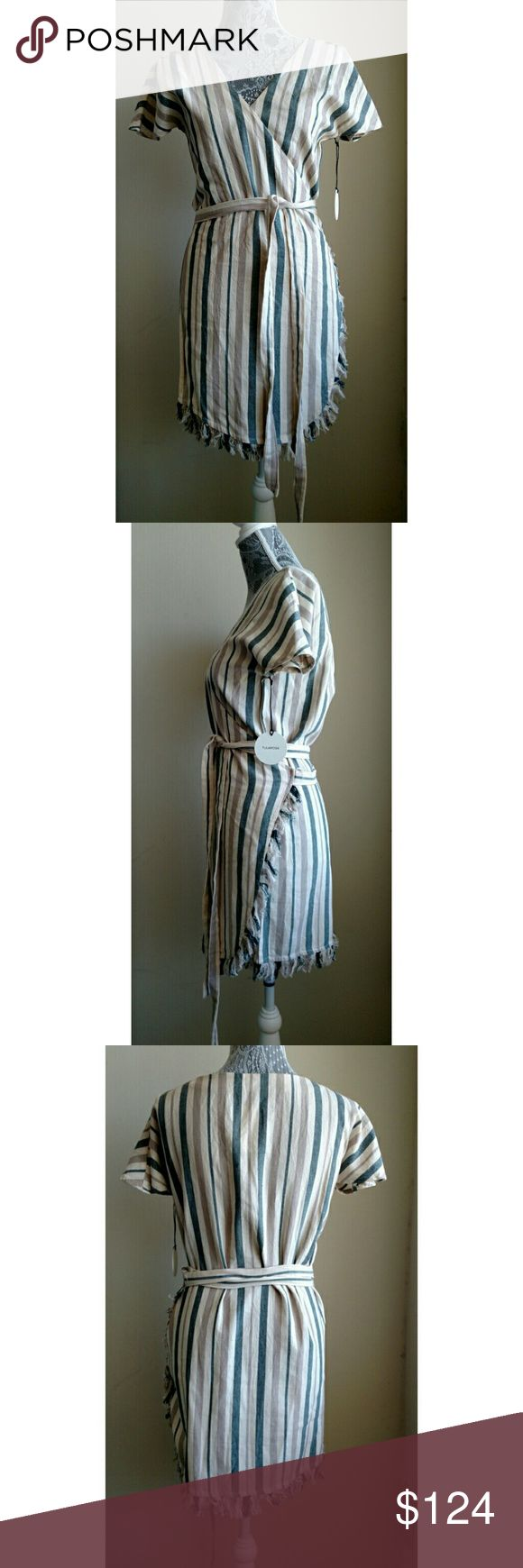 Tularosa Didion Stripe Wrap Dress - Size S - NWT Tularosa Didion Stripe Wrap Dress - Size S - New with Tags (NWT)  Didion wrap dress in La Rochelle Stripe (Cream, beige, cornflower / air force blue) has sun-faded stripes. Dress has a fringe trimmed hem with a southwestern feel.  True wrap style with self-tie closure. Surplice v-neck. Short sleeves. Unlined.  Color:  La Rochelle Stripe (Cream, beige, cornflower / air force blue)  Style: TRDR3704WH  Materials: 100% cotton  Machine wash cold…