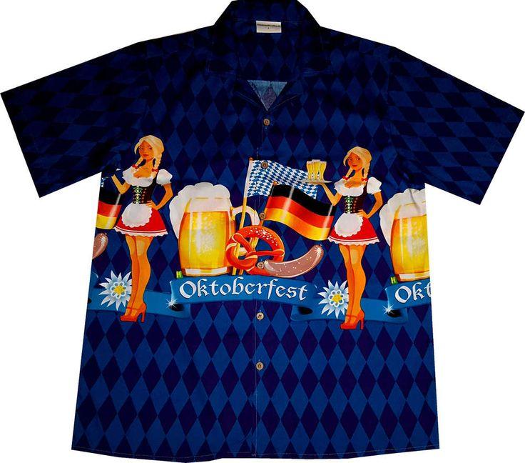 """Hawaiihemd / Hawaii Hemd """"Oktoberfest"""" / Original Designed von Hawaiihemdshop.de / 100% Baumwolle / Knöpfe aus Kokosnuss"""