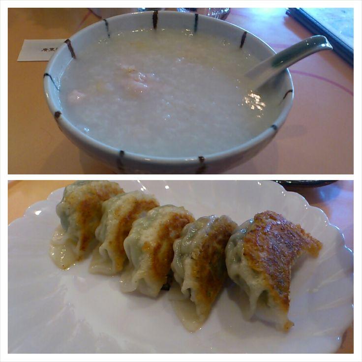 昼食は朝鮮人参粥とおまかせ餃子。 ほっとする優しい味。 美味しい