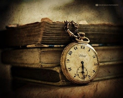 Old picture - books and clock