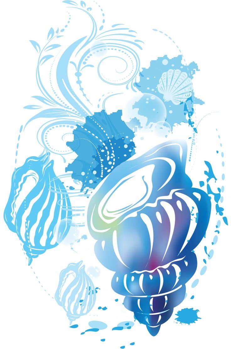 Render nature renders coquillage mer plage bleu eau - Dessin de coquillage ...