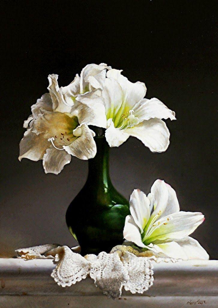 Jarrones de cristal altos con flores frescas cuadros - Jarrones de cristal con flores ...