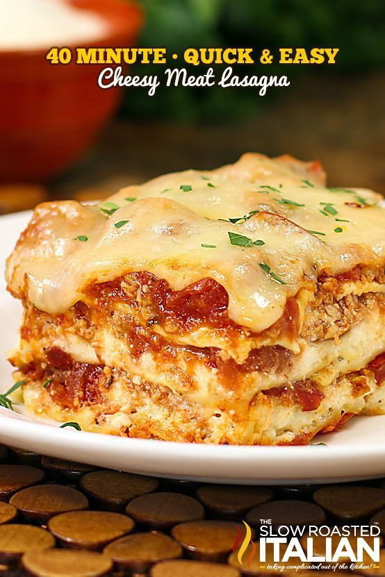 Quick and Easy Cheesy Meat Lasagna recipe with layer after layer of flavorful meat, pasta and cheese that comes together in 15 minutes and on the table in just 40 minutes! With a simple recipe and only 15 minutes to prep, this fabulous meal can be on your