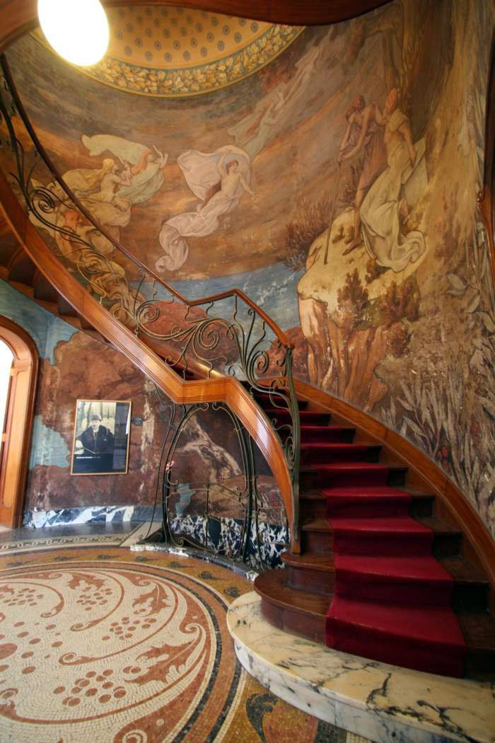 Art Nouveau - Hotel Hannon - Bruxelles - Escaliers - Ferronnerie Pierre Desmedt - Fresques Paul Albert Baudouin