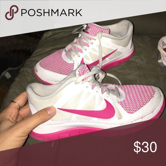 pink and white Nike free runs 4.0 size 7 really comfy and cute free runs Nike Shoes Athletic Shoes