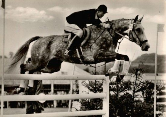 Helga Köhler (GER) on Pesgö, 1960, who was born in Hamburg 1925, was the most successful lady rider in Germany from the late 1940's to the early 1960's