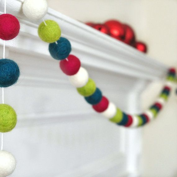 Unique Christmas Garland - Felt Ball Garland - Best Gifts for Grandma - Holiday Decorations - Christmas Ornaments