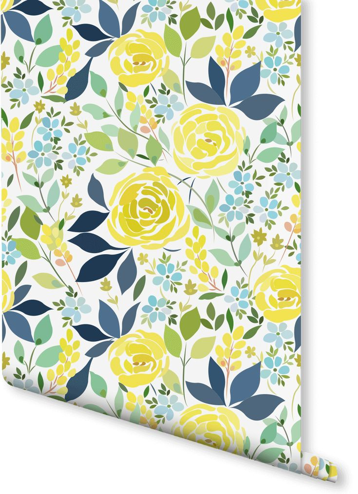 Inject a bit of zest into your home with this floral wallpaper. Vivid yellow roses contrast wonderfully with the varying blue and green tones within this decorative wallpaper. Perfect for bringing life back into those forgotten about walls in your home.