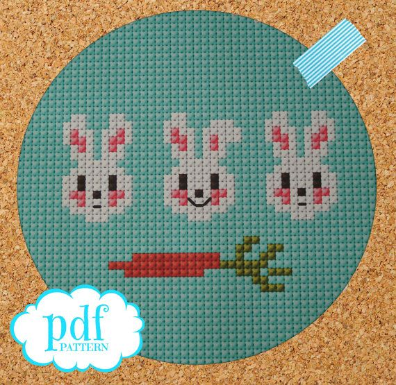 3 Little Bunnies cross stitch, needlepoint, tapestry pattern. PDF, instant digital download,epattern. Easter rabbit with carrot.