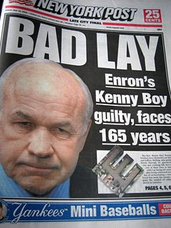 The Enron Scandal not only caused huge losses on the stock exchange but had other impacts as well where employees lost their jobs and pensions but also the trust that American citizens had in their economic system was destroyed. This page shows some of the consequences of the scandal as well as a timeline of the events.