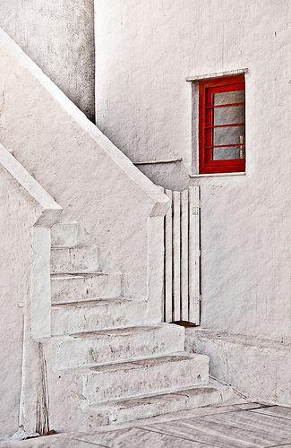 Red Window White Steps