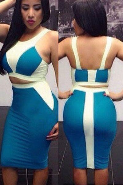 White Blue Two-tone Bodycon Skirt Set