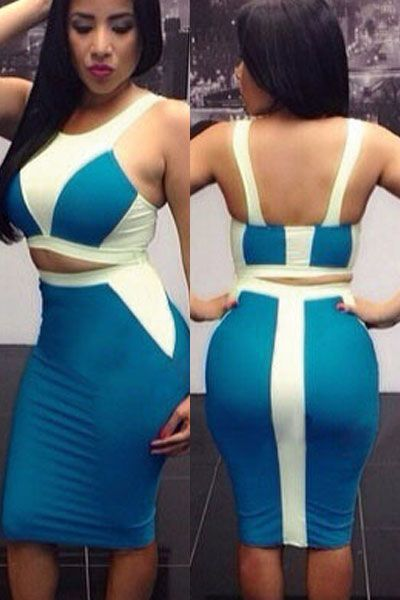 White Blue Two-tone Bodycon Skirt Set