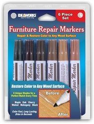 $4.52/6 Assorted Furniture Repair Markers: Helps restore scratched furniture, cabinets and floors. Hides wood imperfections, nails, holes and scratches. Perfect for vintage furniture. Set of Six. Maple, Oak, Cherry, Walnut, Mahogany and Black shades. Color fast, Long Lasting, Dries in Seconds.