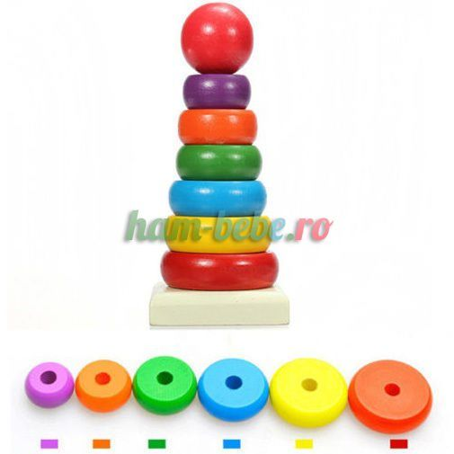 Turn Montessori din lemn Rainbow Tower