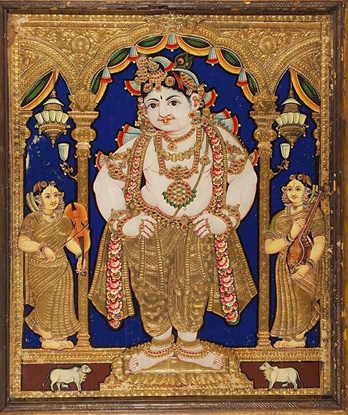 Krishna in Tribhanga stance with his Attendants who are depicted playing Carnatic Violin and Tambura from the Tanjore School of painting