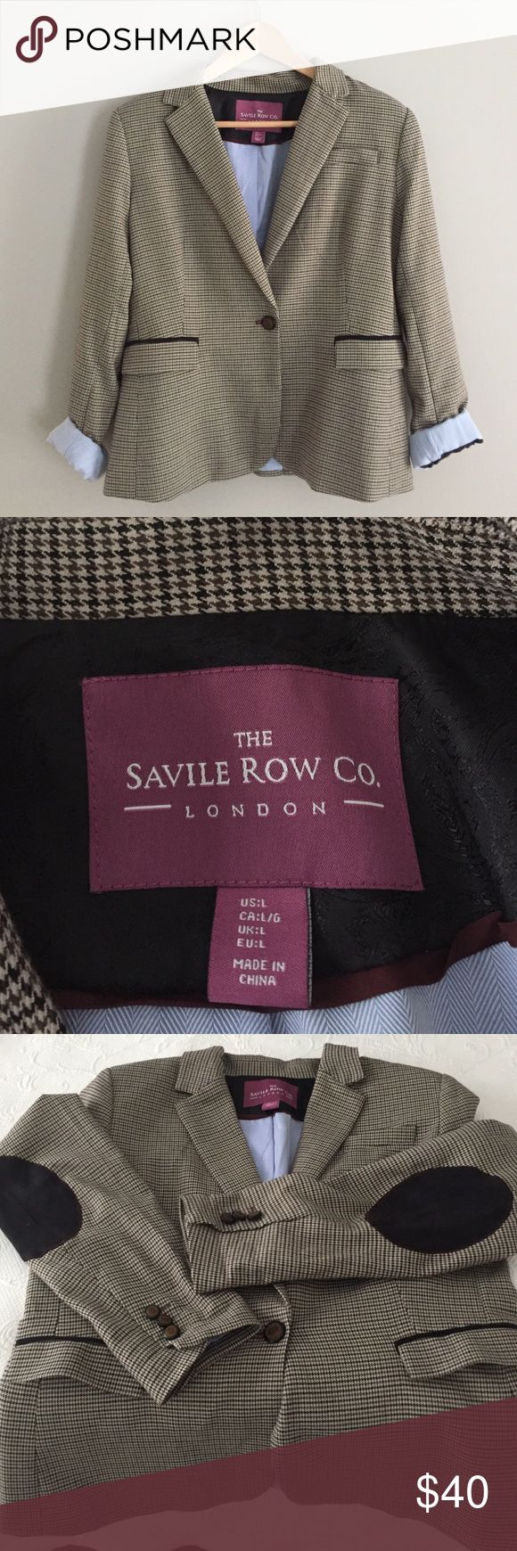 Brit Style Fall/Winter Blazer Classic & fun blazer in a small houndstooth  & a modern twist . Lining is a light blue Oxford material  (looks like a light denim) elbow patches and buttons on the arms - super versatile, fun yet classic and like new!!!! Saville Row CO. London Jackets & Coats Blazers