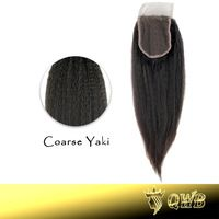 Free Parted Coarse Yaki Kinky Straight  4''x3.5'' (H/L) QWB Top Closure Slightly Bleached Knots Brazilian Virgin Hair