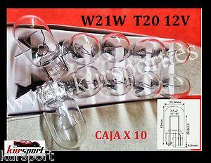 CAJA BOMBILLAS LAMPARAS HALOGENAS T20 12V 21W W3X16d 1 POLO  CONTENIDO: CAJA X 10 UNIDADES T20 -  W21W  12V 21W  1 POLO - FILAMENTO  Casquilllo (Base) W3X16d  Válidas para coche   Cristal color Blanco  Homologadas con Certificado CE- Válidas para ITV  Areas de aplicacion:  Se emplea habitualmente en faros de posicion traseros y freno #bombillas #bombillasled #accesoriosmotos #bombillascoches #kursport #bombillashalogenas #accesorioscoches #coches #iluminacion #lampara #lamp #light #bulbs