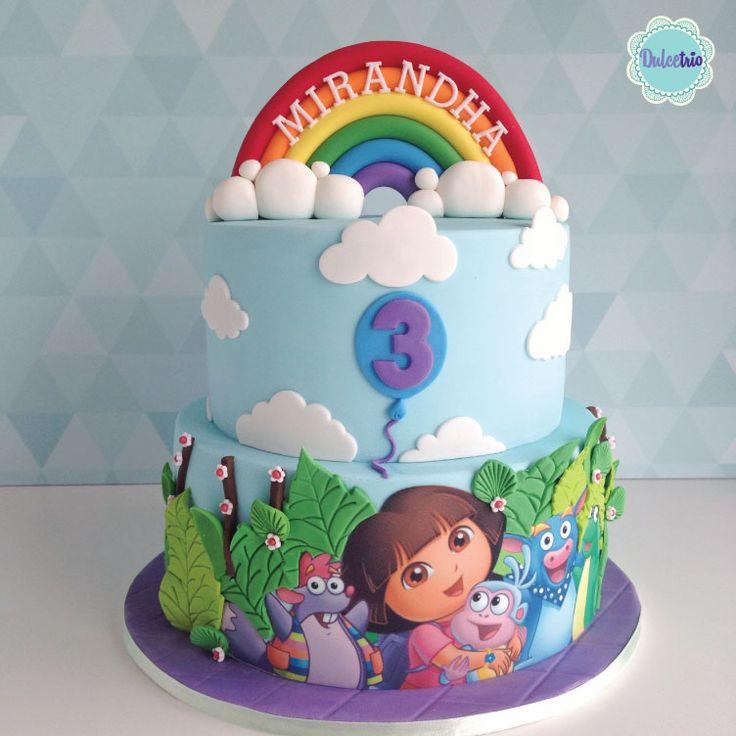 My version of #dora the explorer, for my lovely customer Mirandha. #3rdbirthday # kids #kidsparty #doracake #birthdaycake #kidsbirthdaycake #creativecake