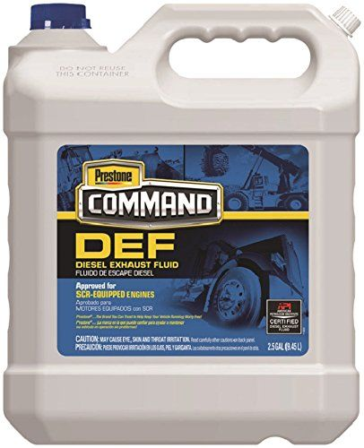 Prestone HD1001-2PK Command Diesel Exhaust Fluid - 2.5 Gallon, (Pack of 2)  Formulated to work with all SCR-equipped diesel engines  Safe, easy-to-handle, nontoxic solution of 67.5% water and 32.5% automotive grade urea  Certified to meet all API & ISO 22241 requirements  Compatible with AdBlue and other DEF products  DEF is a consumable and essential fluid for maintaining SCR-equipped modern diesel engines