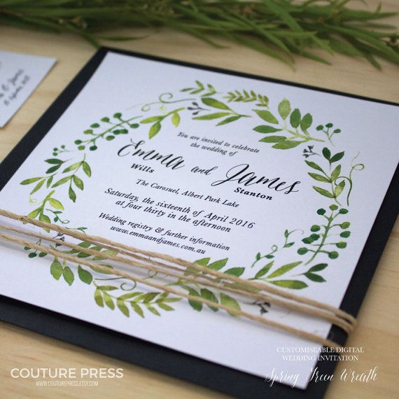 Printable Wedding Invitation, DIY Printable, Watercolour Spring Green  Wreath   Invitation Only