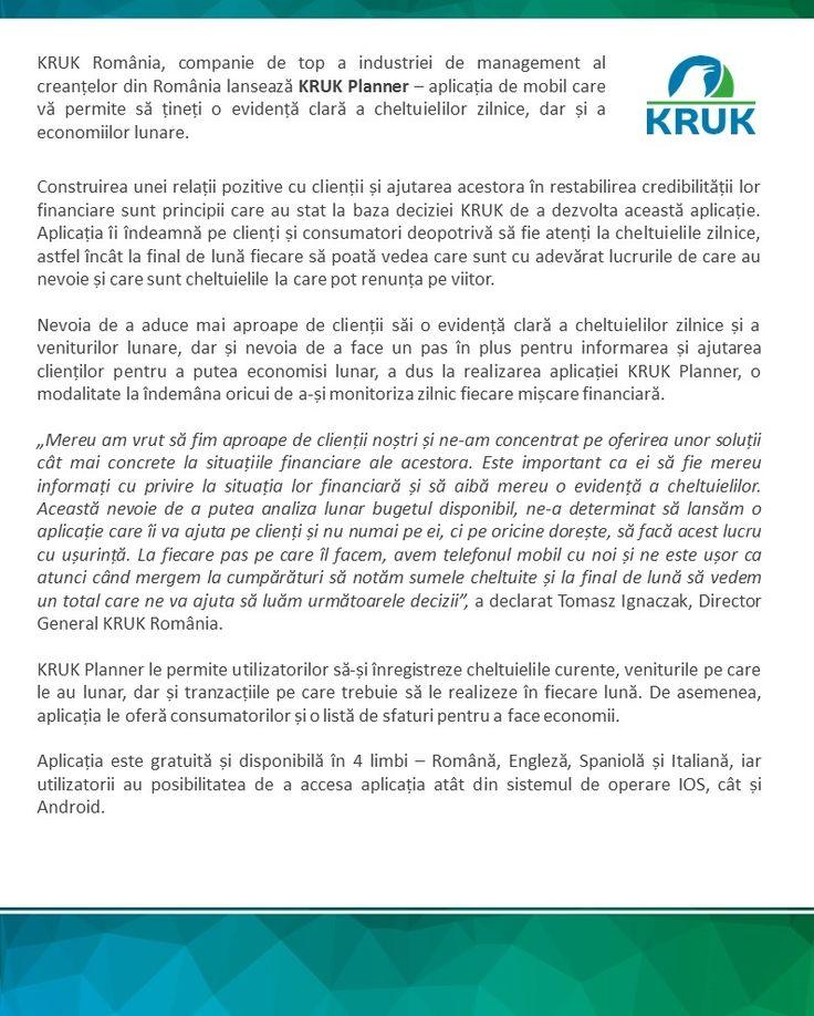 KRUK Romania lanseaza KRUK Planner – aplicatia de mobil care va permite sa tineti o evidenta clara a cheltuielilor zilnice, dar si a economiilor lunare. http://ro.kruk.eu/news/art98,aplicaia-de-mobil-kruk-planner-o-modalitate-uoar-de-a-ine-evidena-cheltuielilor-zilnice.html
