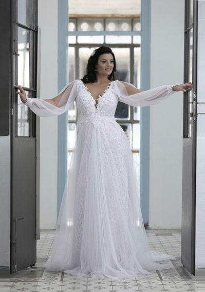 long sleeve plus size wedding dresses with an empire waistline | ... PS1431 - 1950 - Loose Long Sleeve Wedding Dress for Plus Size Bride