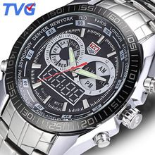 SALE US $49.98 - TVG Brand  Men Sports Watches Waterproof Full stainless steel Quartz wristwatches Digital Multifunction Men's Military LED Watch
