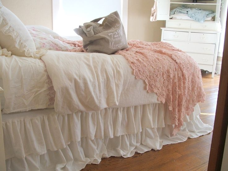 Shabby Chic Queen Bed   Shabby Chic Bedding Romantic Tiered Ruffle Dust Ruffle Bed Skirt Queen ...
