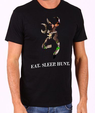 Browning Camo Logo Deer Hunter Eat Sleep Hunt Men's Black T Shirt
