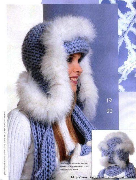 Шапка-ушанка связана платочной вязкой и декорирована меховой ленточкой. Теплая и красивая вязаная шапочка.